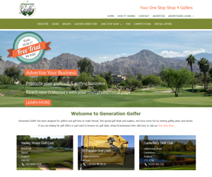 Generation Golfer website design